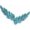 Motif Sequin/beads 26x8cm Leaf Shape Turquoise